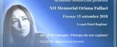 XII Memorial e Premio Oriana Fallaci – Firenze 15 settembre 2018